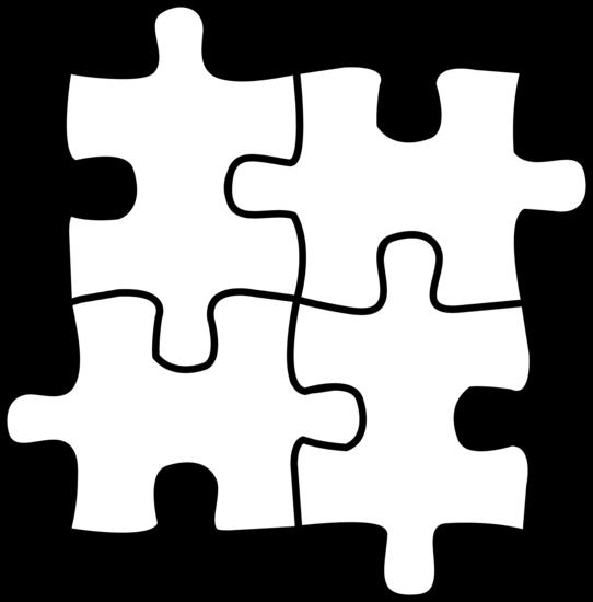 Sweet Clip Art puzzle pieces line art.