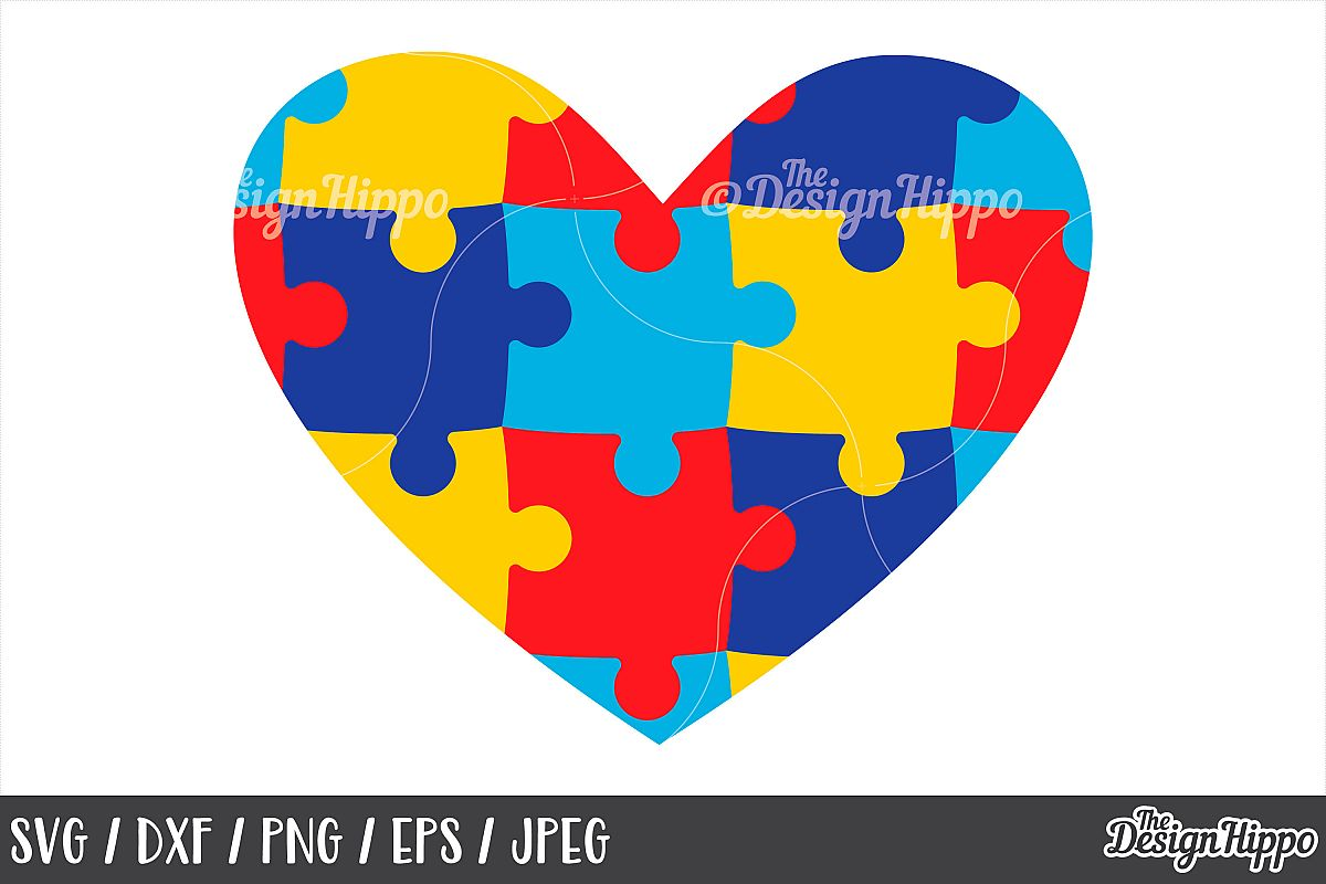 Autism Heart, Puzzle Pieces, SVG DXF PNG Cricut Cut Files.