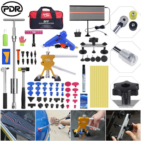 79pcs set PDR Tools Paintless Dent Repair Removal Puller Lifter T Bar  Hammer Glue kit.