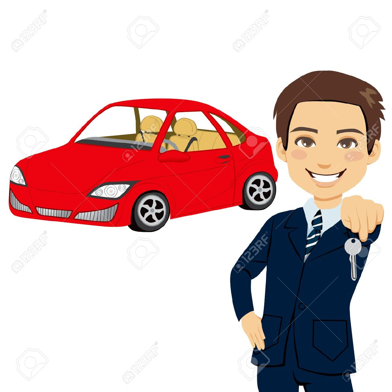 Brand new red car clipart.