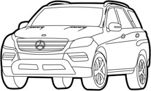 Free Black and White Cars Outline Clipart.