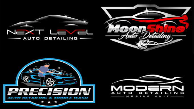 do automotive auto detailing and car wash logo design.