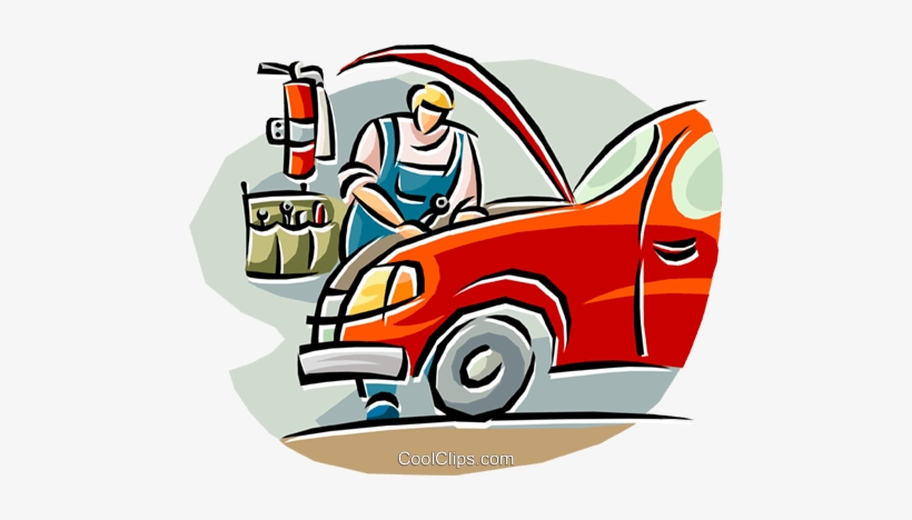 Auto Mechanic Working On A Car Royalty Free Vector.