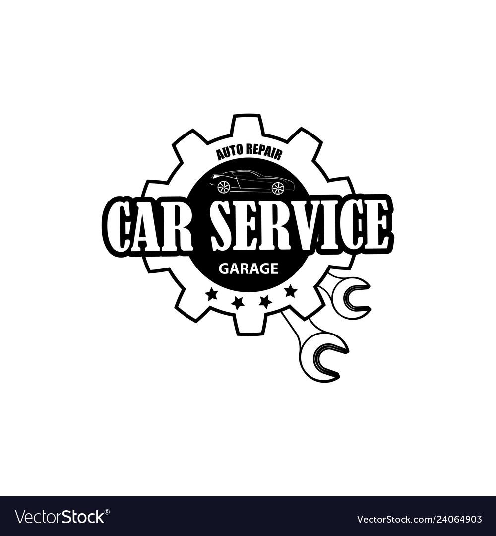 Mechanic logo piston wrench crossed engine car.