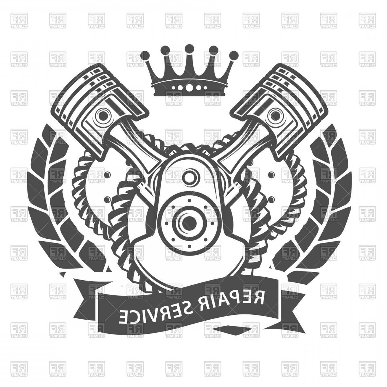 Auto Repair Service Emblem Symbolic Engine Vector Clipart.