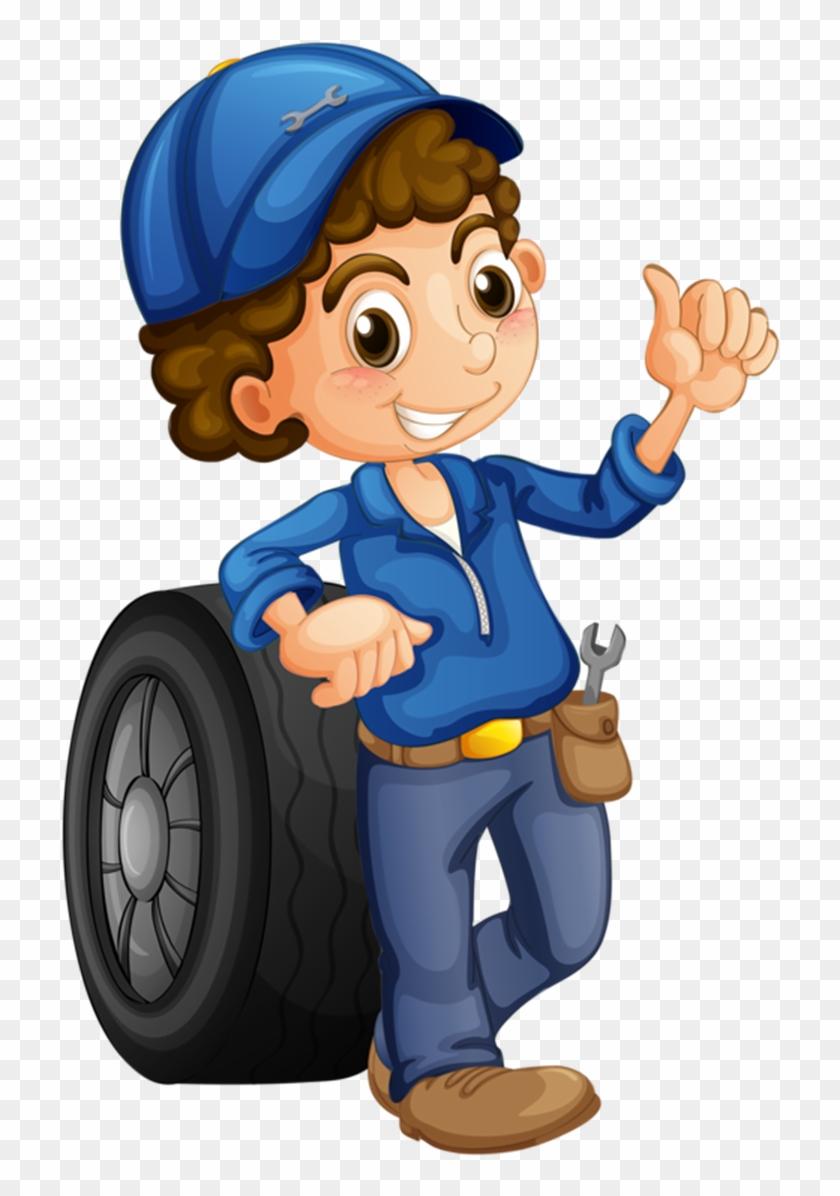 Car Auto Mechanic Female Illustration.