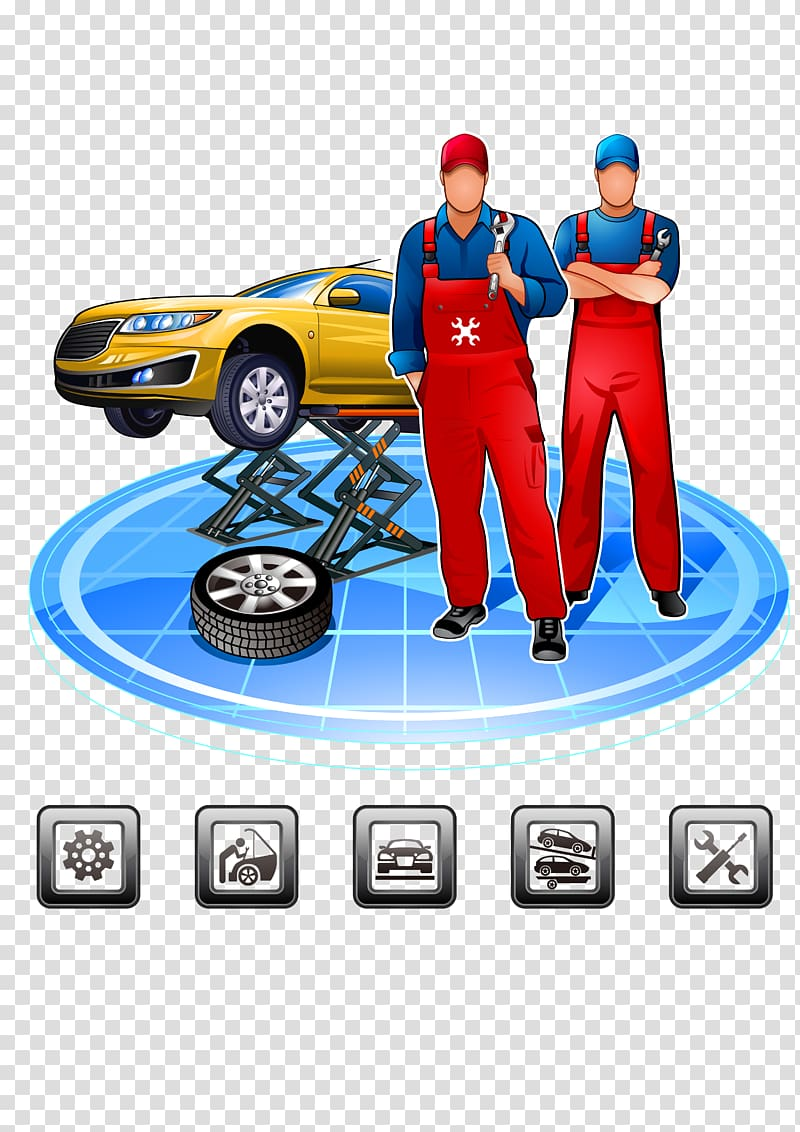 Two men mechanics illustration, Car Maintenance, repair and.