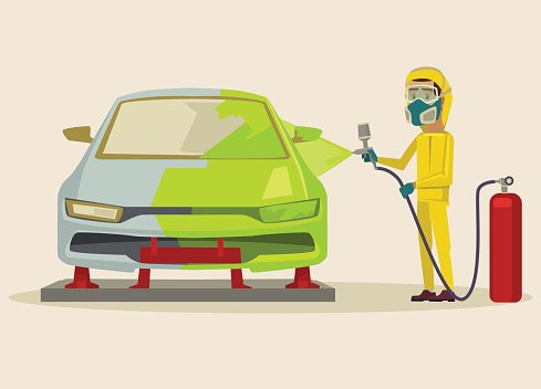 Car painting. Vector flat cartoon illustration Clipart Image.
