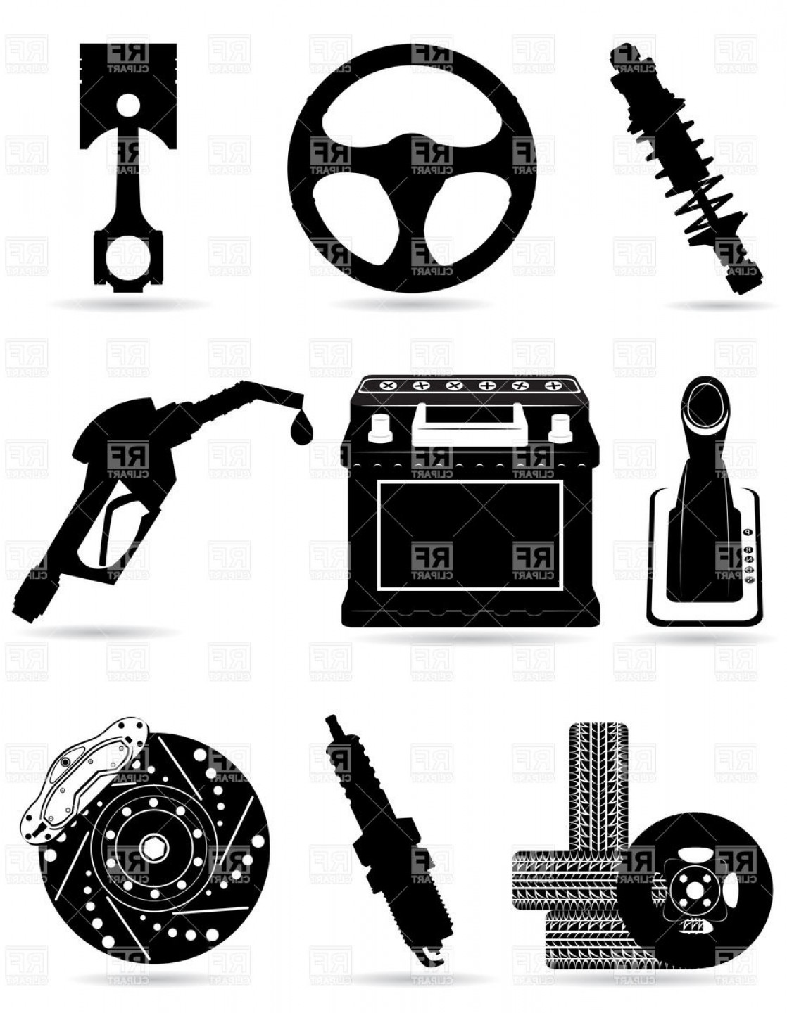 Set Of Car Parts Black Silhouettes Vector Clipart.