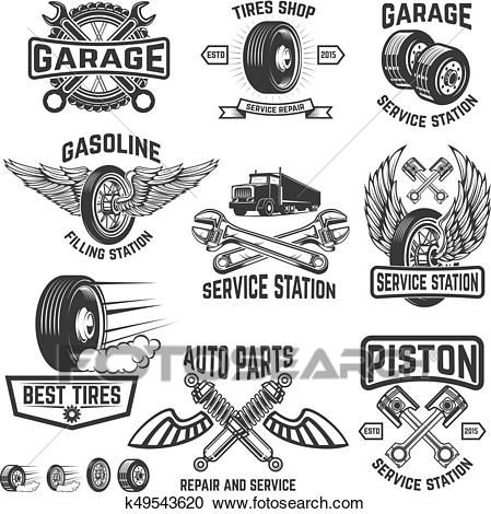 Garage, service station, auto parts store, filling station badge.