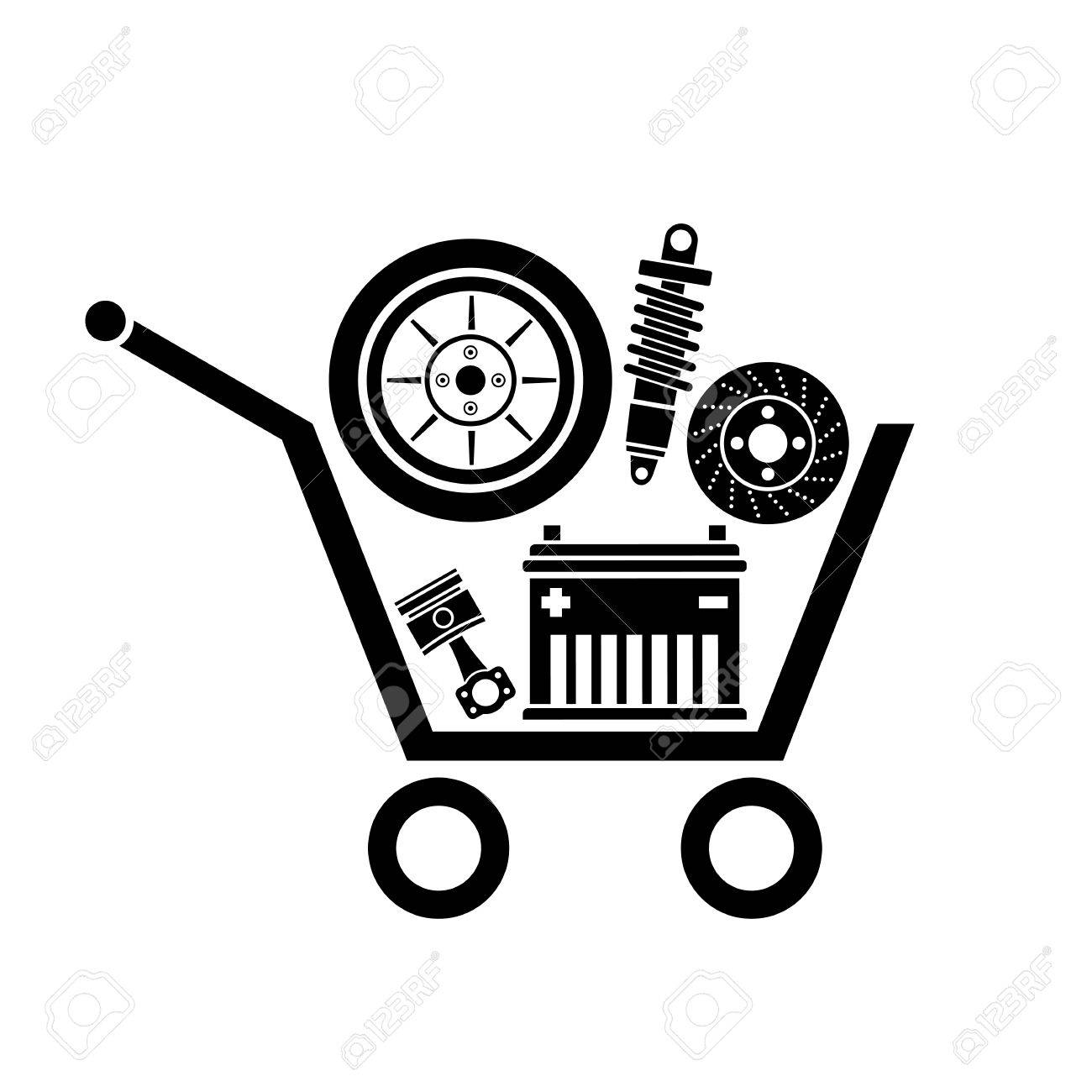 Auto Parts In The Supermarket Trolley. Symbol Of Car Parts Store.
