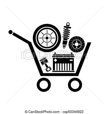 Auto parts in the supermarket trolley. symbol of car parts store. vector.