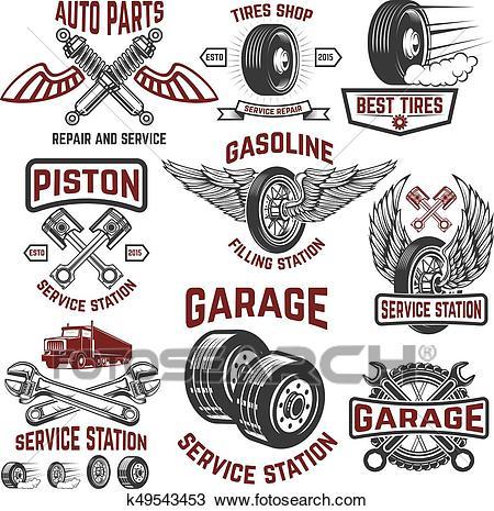 Garage, service station, tires shop, auto parts store. Design el Clipart.