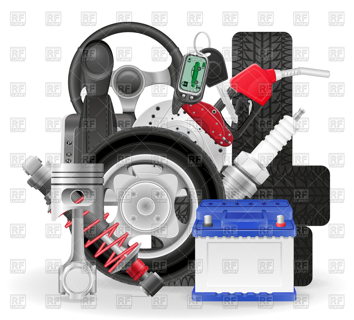 Auto parts Stock Vector Image.