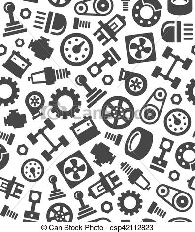 Auto Car Spare Parts Seamless Pattern Background. Vector.
