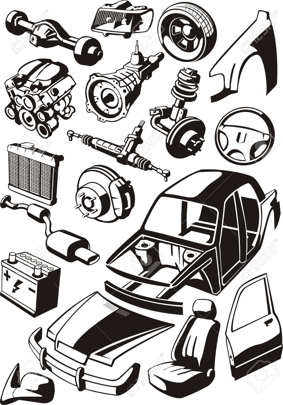set of a different car parts.