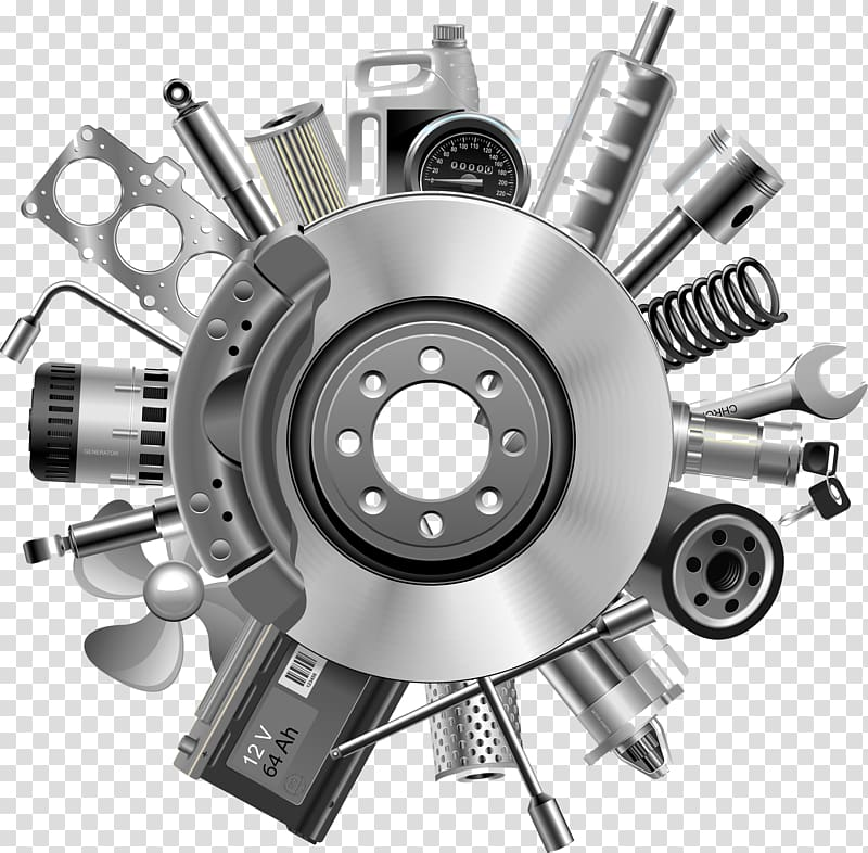 Gray steel rotor disc, Car Spare part , auto parts transparent.