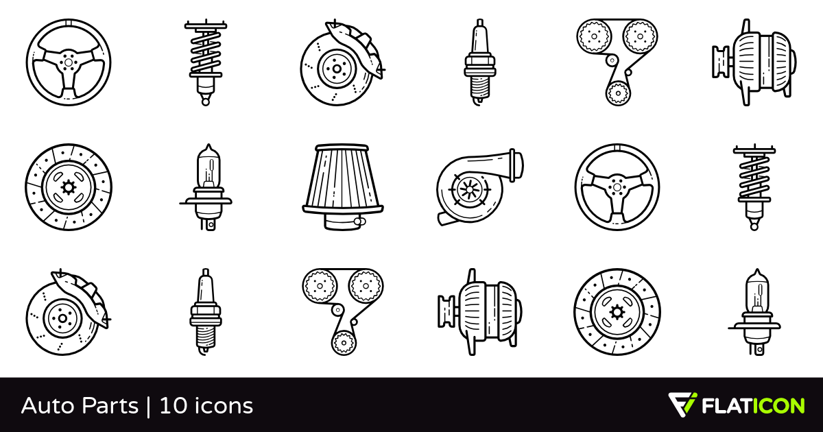 Auto Parts 10 free icons (SVG, EPS, PSD, PNG files).