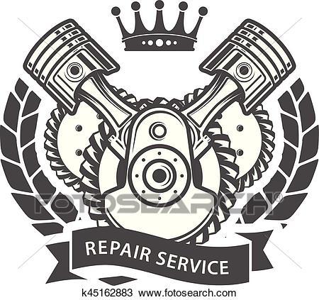 Auto repair service emblem.