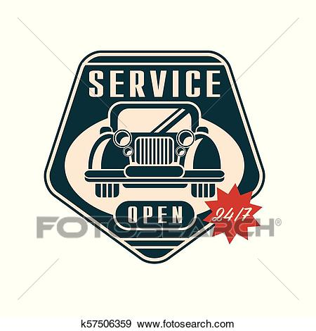 Car service logo, open 24 7, auto repair vintage label vector Illustration  on a white background Clip Art.