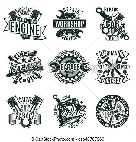 Monochrome Car Repair Service Logos Set.
