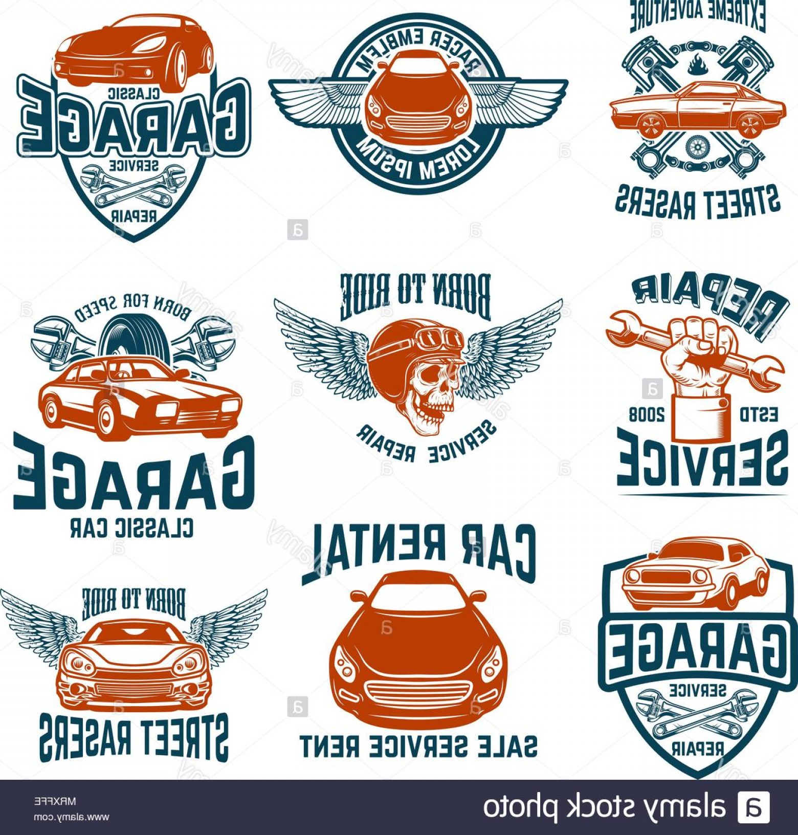 Car Repair Garage Auto Service Emblems Design Elements For Logo.