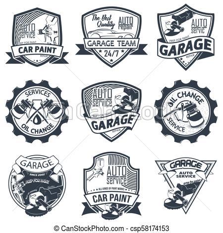 Set of nine auto repair.