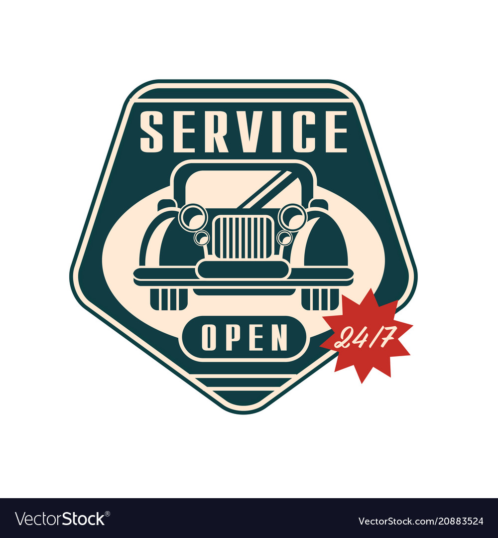 Car service logo open 24 7 auto repair vintage.