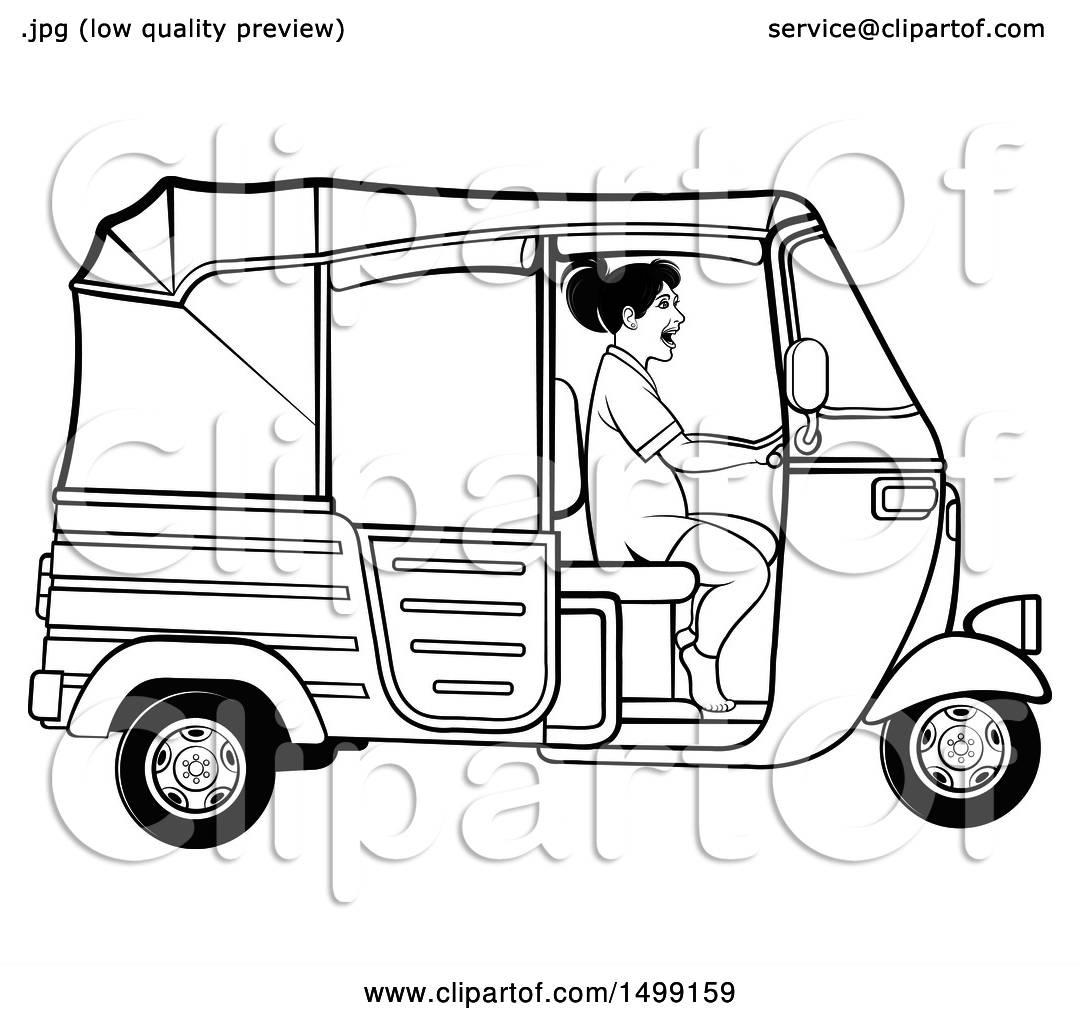Clipart of a Black and White Woman Driving a Three Wheeler Rickshaw.