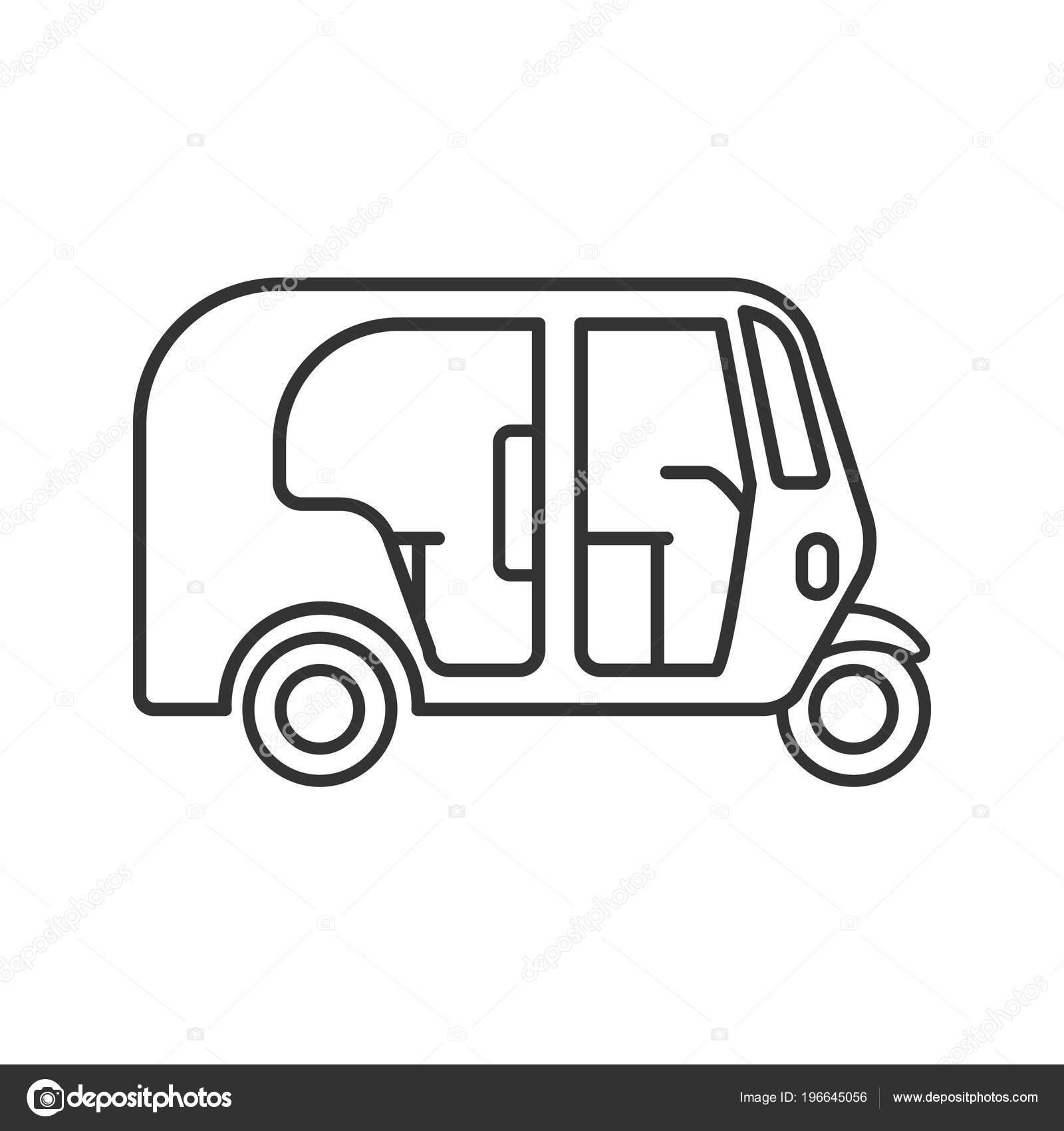 Clipart: auto rickshaw black and white.