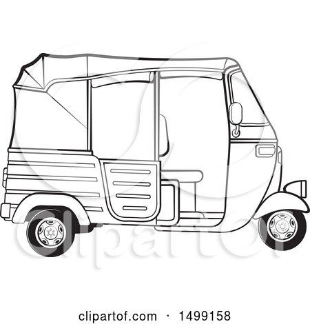 Clipart of a Black and White Three Wheeler Rickshaw Vehicle.