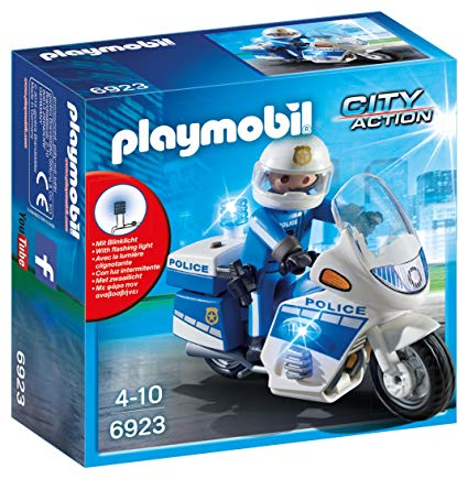 Playmobil 6923 City Action Police Bike with LED Light, for Children Ages 5+.