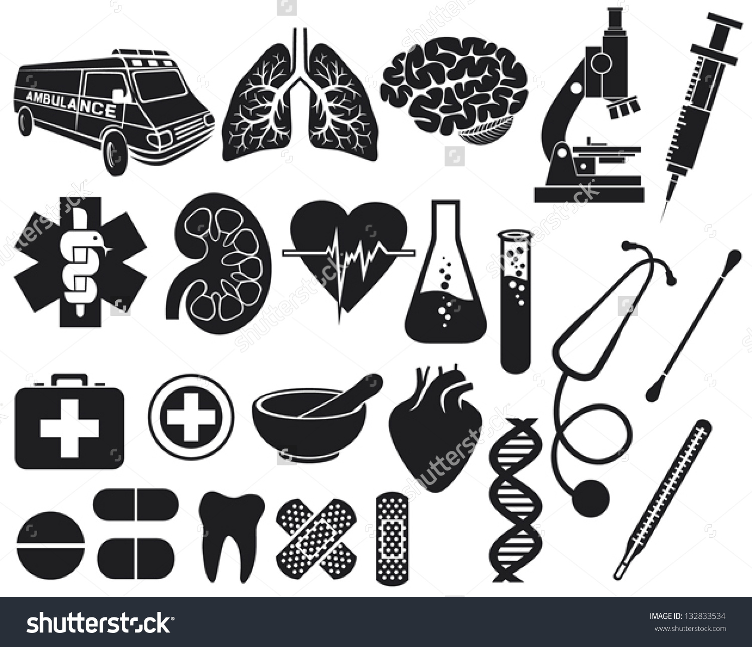 Medical Icon Set (Kidney, Lungs, Pharmacy Snake Symbol, First Aid.