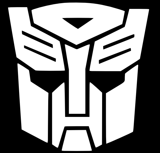 Transformers G1 Logo in black and white.