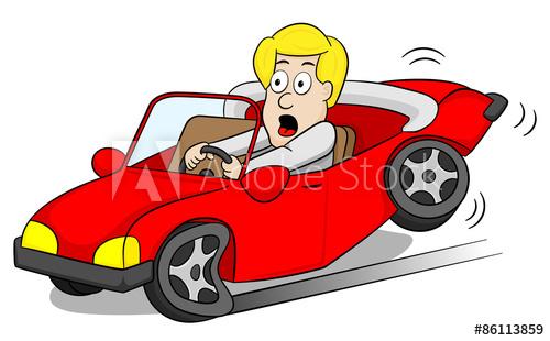 Autofahrer macht eine Vollbremsung.