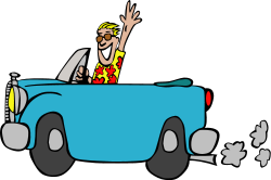 Driving a car Clipart Graphic.