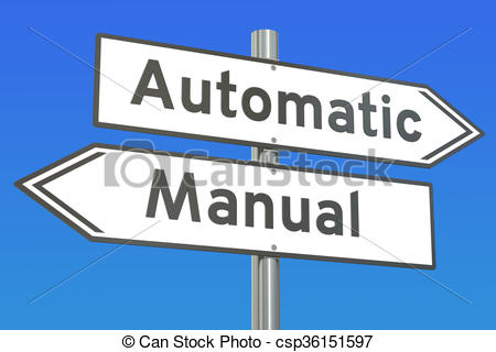 Stock Illustration of automatic or manual concept, 3D rendering.