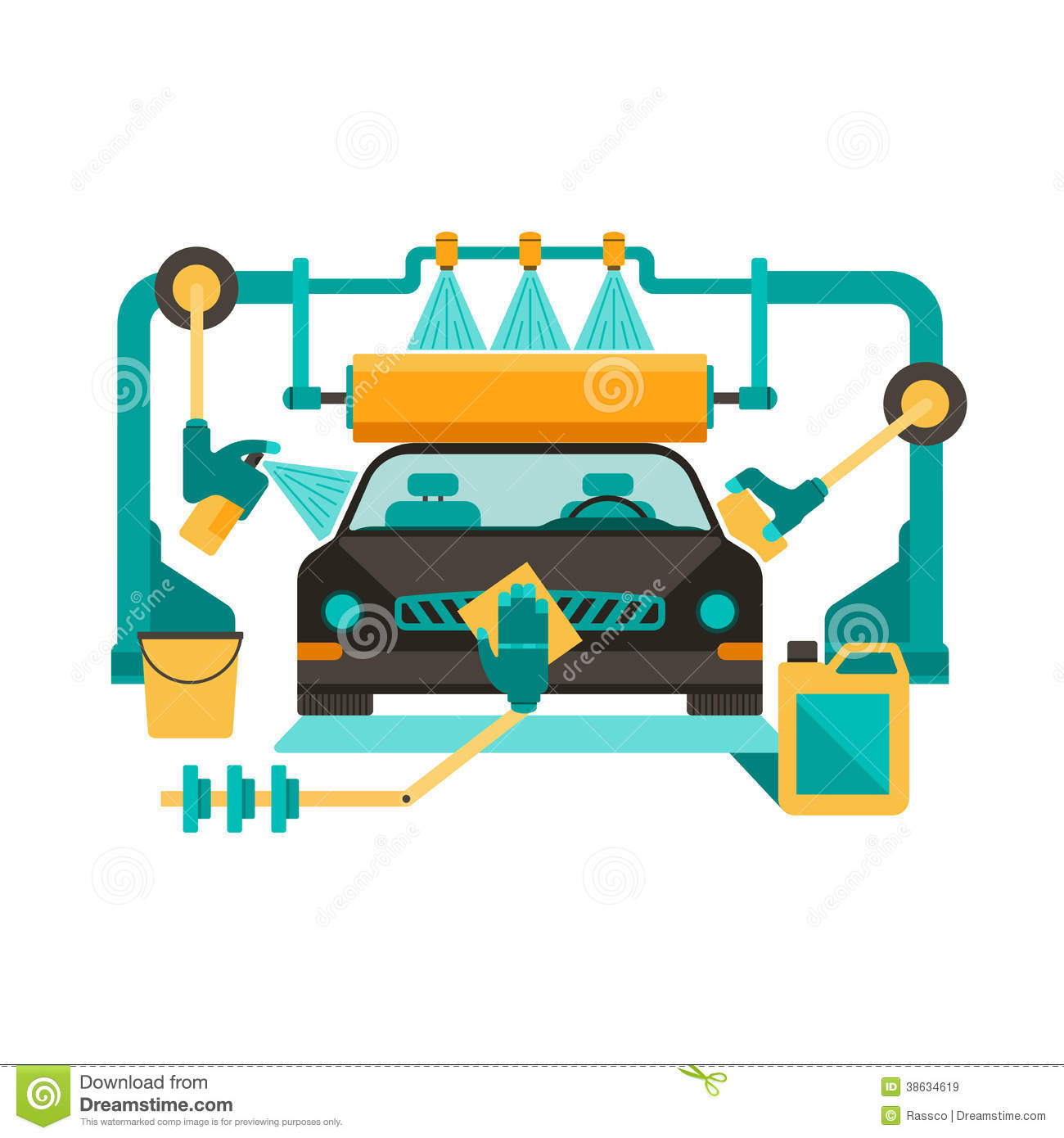 Car in automatic car wash clipart.