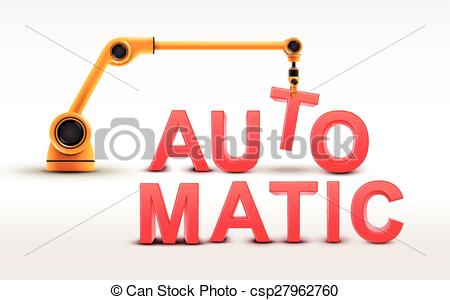 Clip Art Vector of industrial robotic arm building AUTOMATIC word.