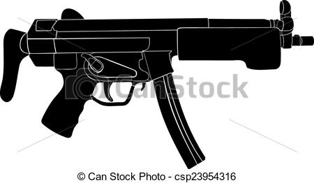 Vector Clip Art of Submachine gun. Automatic weapon. A machine gun.