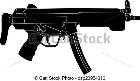 Vector Clip Art of Submachine gun. Automatic weapon. A machine gun.