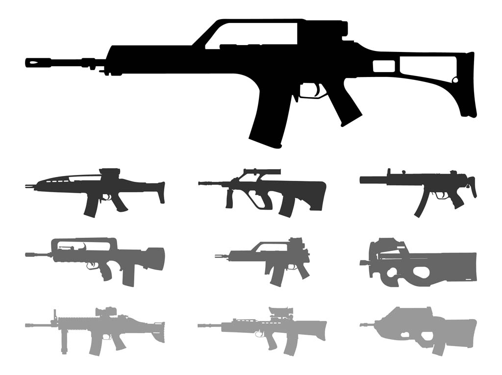 Automatic Weapons Silhouettes.