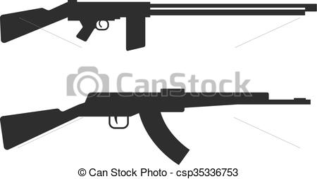 Clipart Vector of Automatic machine gun AK 47 isolated on white.