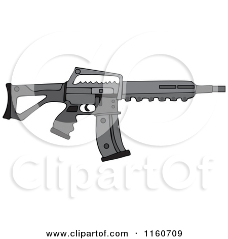 Cartoon of a Black Semi Automatic Assault Rifle with a Clip.