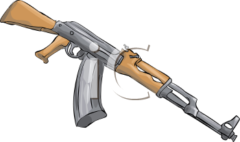 Royalty Free Clip Art Image: AK Series Assault Rifle.