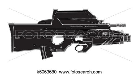 Clipart of Automatic Weapon k6063680.