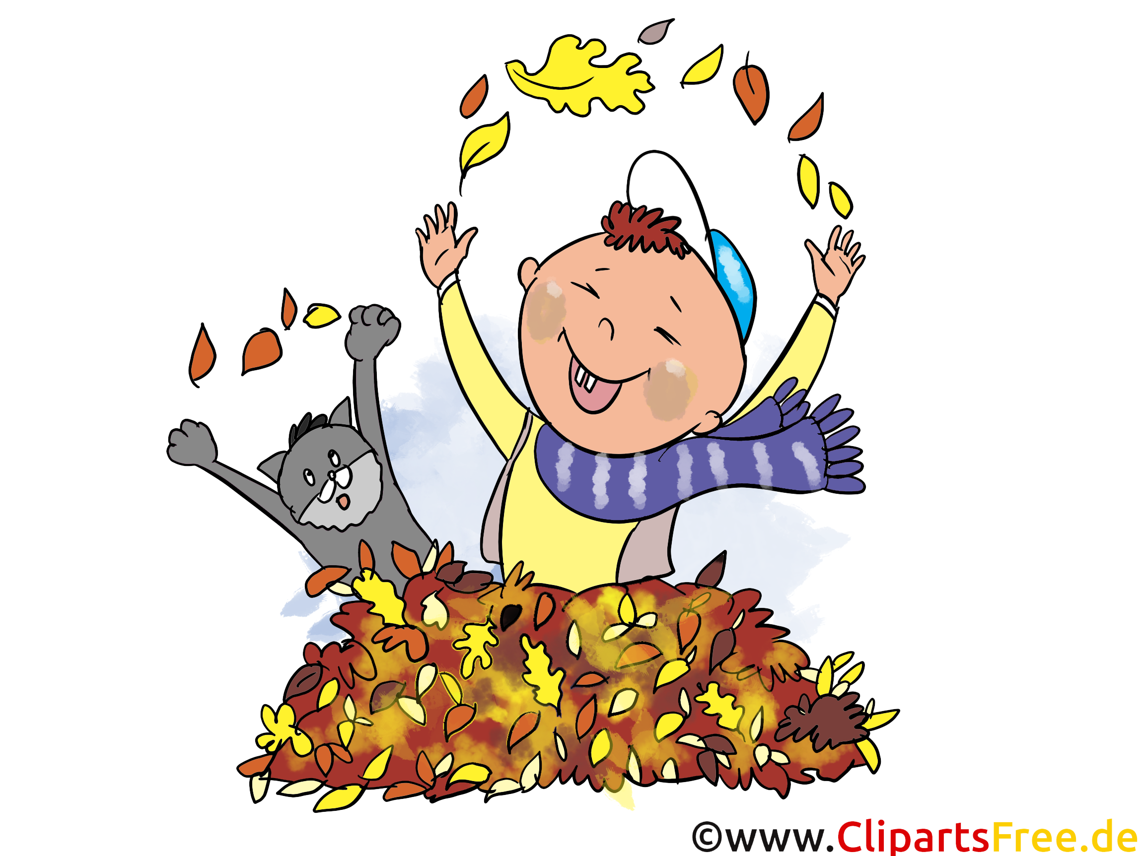 Chat feuilles clipart.
