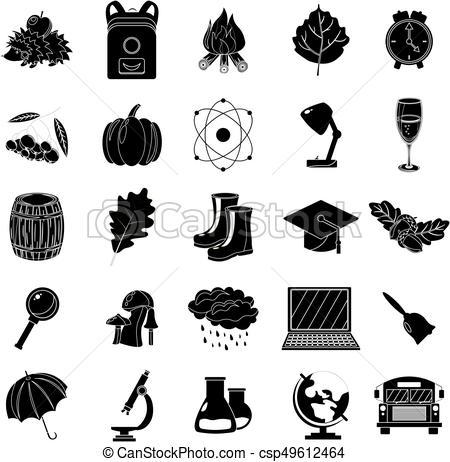 école, illustration., automne, set., arrière.