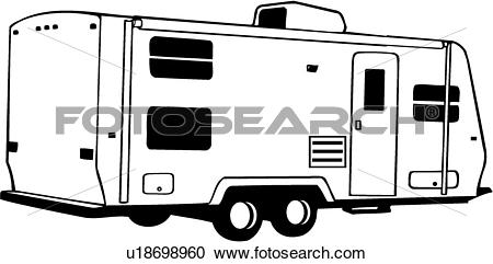 Clipart of , camper, recreation, recreational, rv, trailer.