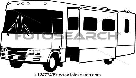 Clip Art of , camper, motorhome, recreation, recreational, rv.